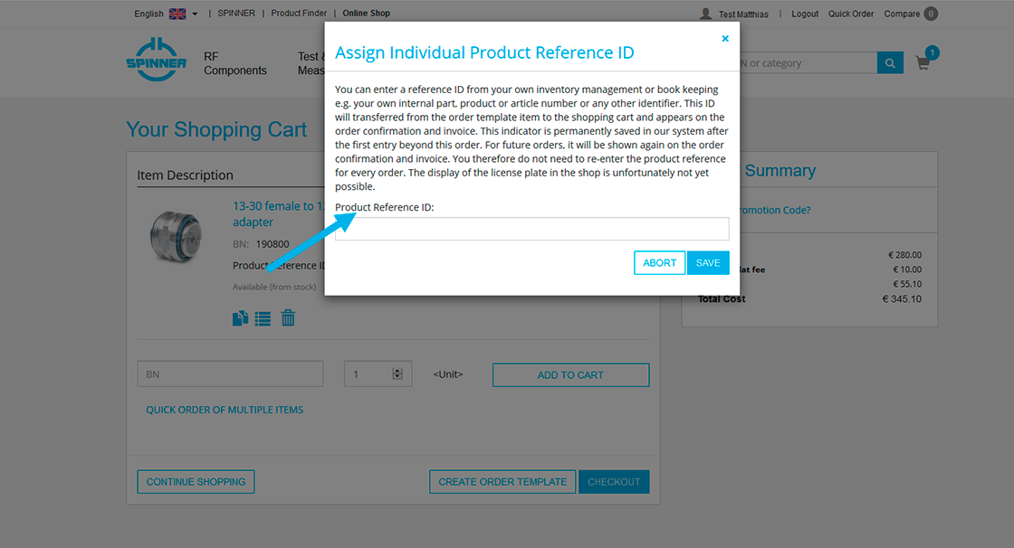 Assign your internal product reference ID
