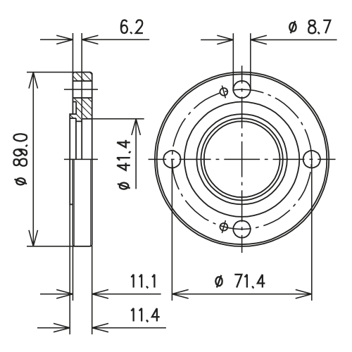 Fixed flange for brazing quot eia rigid coaxial line