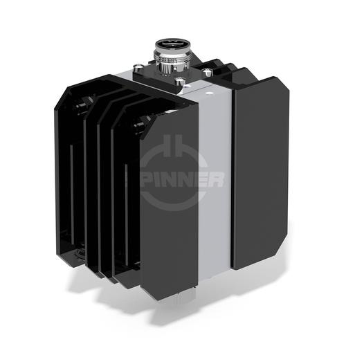 100 W 20 dB attenuator DC-4 GHz 4.3-10 male screw to 4.3-10 female product photo Front View L