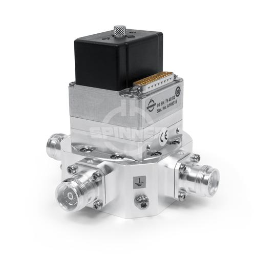 Coaxial 2-way switch (DPDT) 300 W 690-2690 MHz 3.4-3.8 GHz 24 VDC 4.3-10 female low PIM product photo Front View L